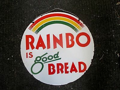 Very Rare! Vintage Round Double Sided Porcelain Rainbo Bread Sign - Oil Gas