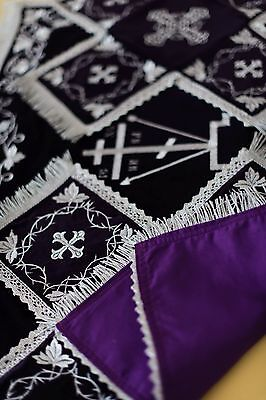 Chalice Covers Orthodox  Embroidered black color , with silver thread,