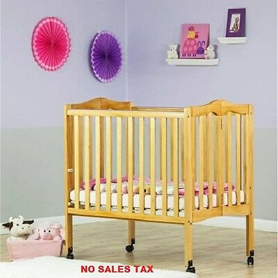 2-in-1 Folding Crib Lightweight Portable Nursery Infant Convertible NEW