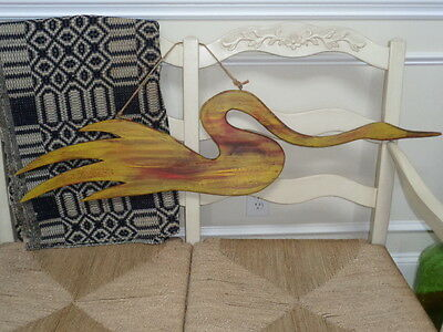 Folk Art Primitive Goose Water Fowl Hand Painted Large Distressed Wall Hanging