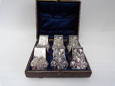 Victorian 6 box set of Silver Plate Triangle Napkin Rings, Bright Cut Floral