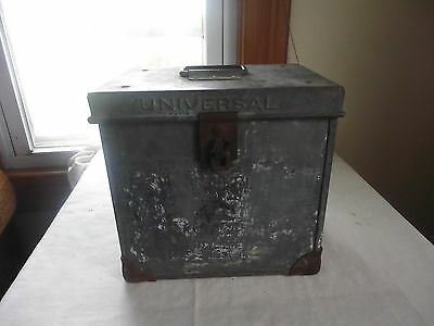 vintage antique primitive metal cooler porch milk bottle box container holder