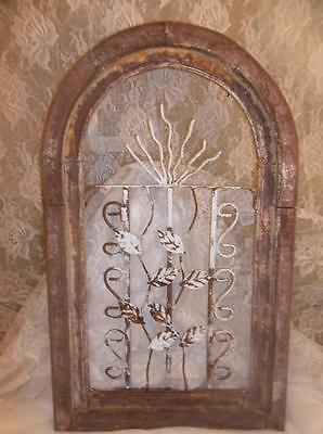 Antique Rustic Vintage Shabby Weathered Chic Wood Cast Iron Garden Art Farmhouse