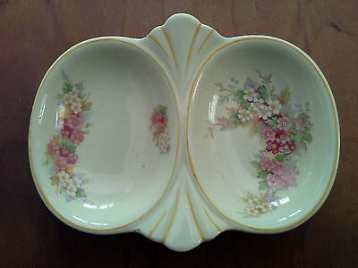 Small Woods Ivory Ware Art Deco Double Bowl with Floral Motifs