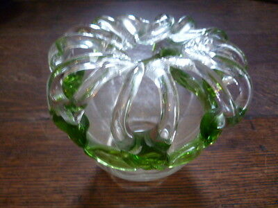 Vintage Hand Blown Green And Clear Glass Vase