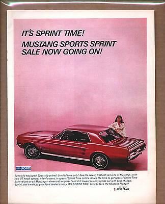 1967 FORD MUSTANG   Vintage Promo Color Car Ad