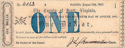 Scott County, Virginia, August 15Th, 1862, $1 Note