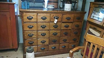 Antique Oak 25 Drawer File Apothecary Country Store Hardware Cabinet