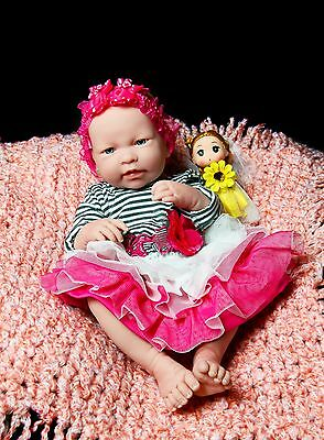 "Baby Girl Real Doll 17"" Inches Newborn Reborn clothes Vinyl Berenguer lifelike"