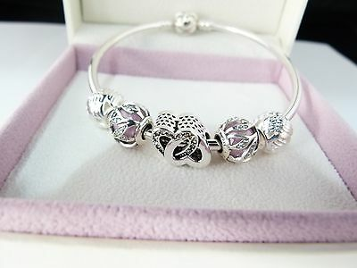 Authentic Pandora Bangle, Authentic Nature's Radiance Beads & Heart Bead,GIFT