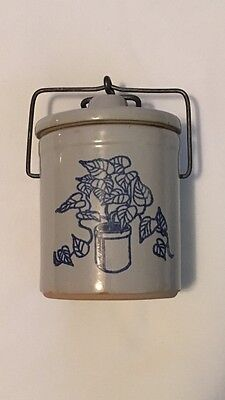 Vintage Small Stoneware Crock with a Blue Plant