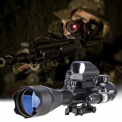 3in1 Combo 4-16x50 Rangefinder Rifle Scope W/Green Laser &Reflex Dot Sight Scope