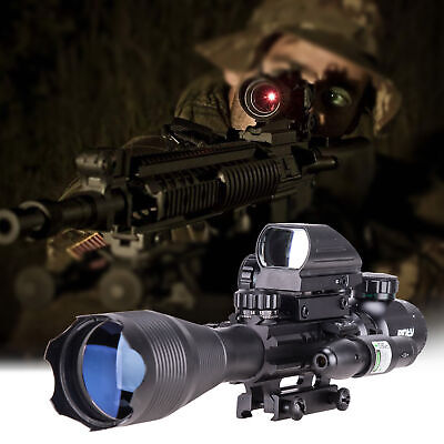 Pinty 4-16x50 Rangefinder Rifle Scope Holographic Reflex Dot Sight & Green Laser