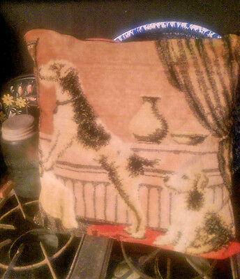Vintage Tapestry Pillow with Airedale Terriers