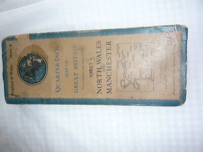 vintage ordnance survey map North Wales and Manchester
