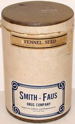 Vintage container SMITH FAUS DRUG COMPANY  Fennel Seed Salt Lake City Utah full