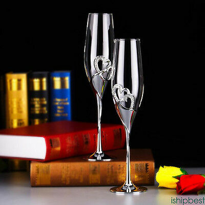 2pcs Unique Wedding Crystal Champagne Flutes Toasting Glasses Cup Party Supplies