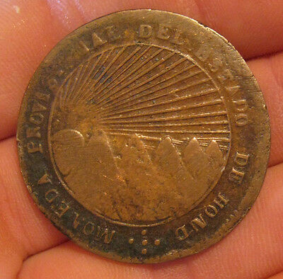 Honduras - 1857 Large Copper-Lead 8 Reales - Scarce!