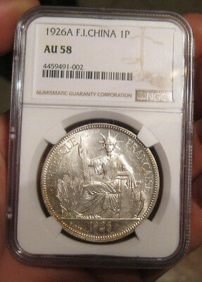 French Indo-China - 1926 Large Silver Piastre (NGC AU 58)
