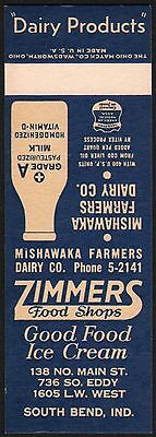 Vintage matchcover ZIMMERS Mishawaka Farmers Dairy salesman sample South Bend IN