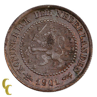 1901 Netherlands 1/2 Cent Coin AU Condition KM# 109.1