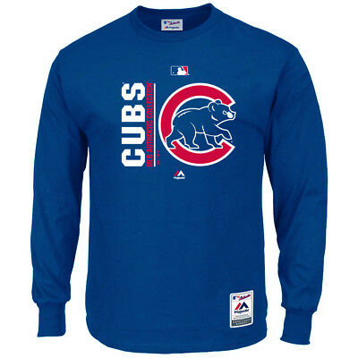 Chicago Cubs Majestic MLB AC On-Field Icon Long Sleeve T-Shirt - Blue