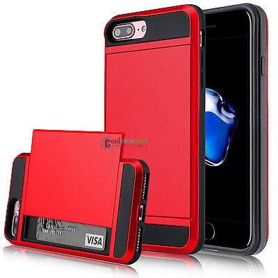 Hybrid Rugged Card Wallet Holder Hard Armor Case Cover for Apple iPhone 7 Plus