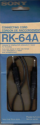 SONY RK-64A Commecting Cord In Box Mini Plug Made in Japan - 1979 Vintage