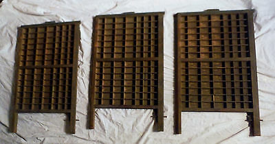 Lot of 3 Printer's Letterpress Type Tray Drawer Vtg Boxes w/ 98 Compartments