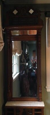 Anitque Oak Hall Rack with marble top circa 1890