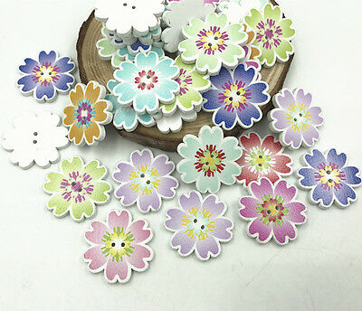 Wooden Flowers buttons Sewing Crafts Mix color DIY decoration Scrapbooking 25mm