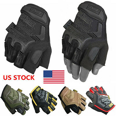 US Tactical Fingerless Sports Gloves Half Finger Mechanix Hard Knuckle Gloves