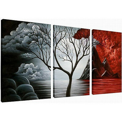 Framed Modern Abstract Painting on Canvas Print Photo Pic Wall Home Decor Trees