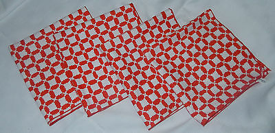 Vintage Lot Of 4 Red White Check Pattern Vera Unused Napkins 16X16 All Cotton
