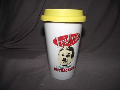 """Seinfeld TV Show Festivus Travel Mug with Lid """"I find tinsel distracting"""""""