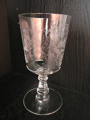 Antique Unique Etched Glass Water Red Wine Goblet with Monogram M