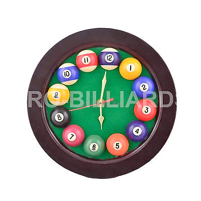 Brown Clock for Game Room Decoration Billiards Pool Table Gift Free Postage AU