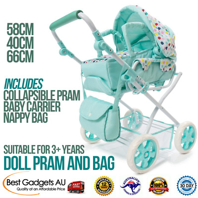 Spot Doll Pram Bag Set of 3 Baby Mint Green, Stroller Play Pretend Toy Playset .