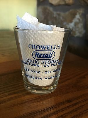 Rexall DRUG STORE~Pittsburg KS Kansas~Dose Cup~Shot Glass~CROWELL'S DRUG STORE