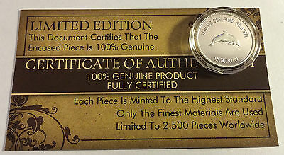 """New 2014 Certified """"DOLPHIN"""" 1/10th OZ 999.0 Pure Silver Proof Coin (a)"""