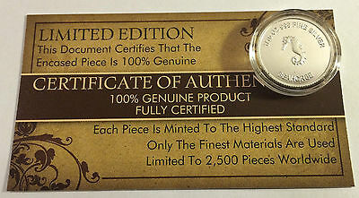 """New 2014 Certified """"SEAHORSE"""" 1/10th OZ 999.0 Pure Silver Proof Coin (a)"""