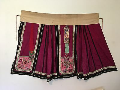Antique Chinese Silk Skirt: Beautiful Embroidered Panels