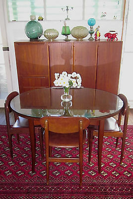 Vintage Parker Extension Table + 4 chairs + Glass Top -  Danish style eames era