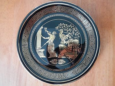 Vintage Handmade in Greece Decorative Wall Plate 24 K Gold