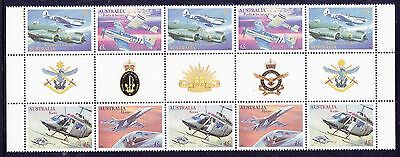 Mint 1996 Military Aviation Pictured Gutter Block Of 10 Muh