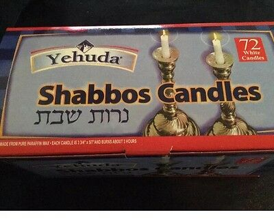 "Yehuda Shabbos Candles 72 ct White 3 3/4"" tall Paraffin Wax Sabbath Holiday"