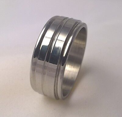 Stainless Steel Men's wedding ring band 7mm wide grooved US size 8 Australian Q