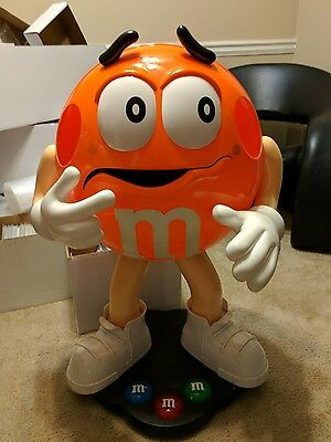 """RARE Orange M&M Candy Character 38"""" Tall Store Display Floor Display"""
