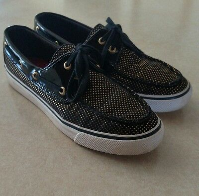 Womens Sperry Top-Sider Boat Shoes Black W/ Gold Dots Size 7M