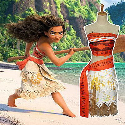Disney Moana Princess Girls Fancy Dress Cosplay Costume Kids Womens Deluxe Dress